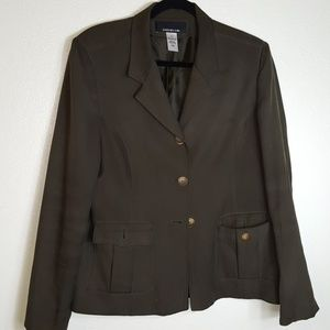 Jones New York Olive Green 3 button blazer